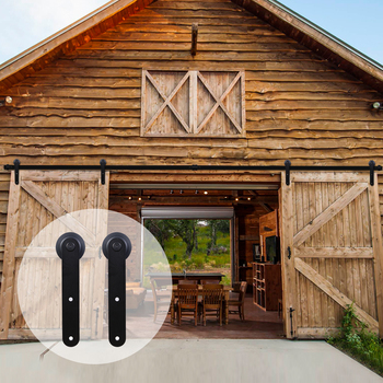 LWZH 16FT/18FT/20FT Sliding Barn Door Hardware Kit Sliding Closet Door Round-Shaped Rail Track Rollers for Double Door free shipping 8 pieces high quality sliding door crane rail hang round of bathroom accessories