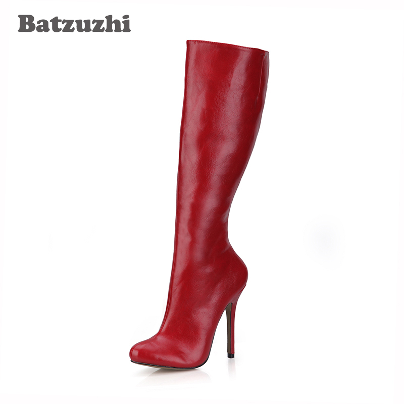 Batzuzhi-Fashion Winter Boots Women Sexy Red Leather Boots Knee High Pointed Toe Simple Fashion Ladies Long Boots, Big Size 43 batzuzhi 2018 handmade women shoes pointed toe 12cm long boots ladies white knee high party botas mujer winter big size 43