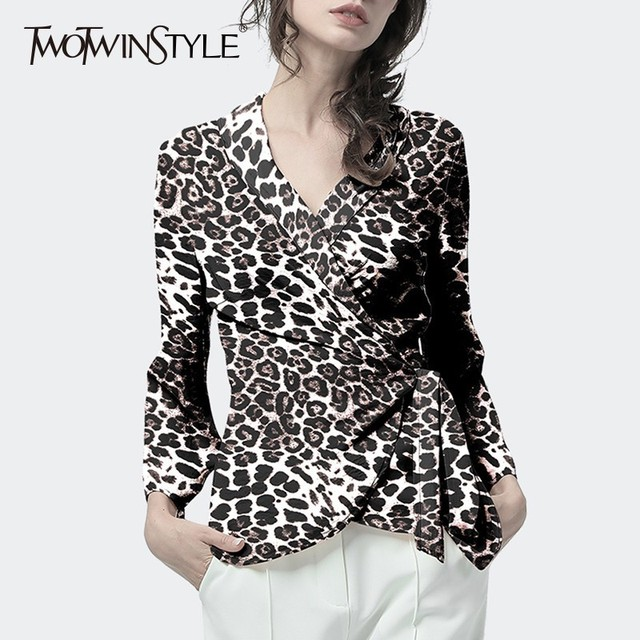 8bc3d79df102 TWOTWINSTYLE Print Leopard Chiffon Shirt Blouse Women V Neck Long Sleeve  Lace Up Top Female Vintage Fashion Spring Autumn 2018