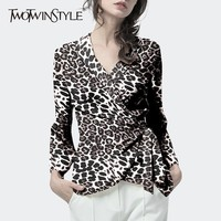 TWOTWINSTYLE Print Leopard Chiffon Shirt Blouse Women V Neck Long Sleeve Lace Up Top Female Vintage Fashion Spring Autumn 2018