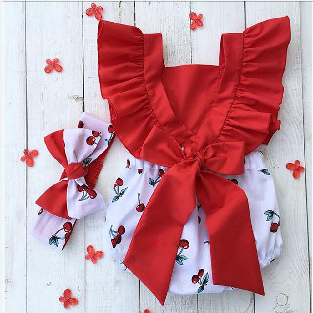 Baby Girls Ruffle Short Sleeve Cherry Print Romper With Headband