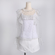Spring summer white lace bright full t-shirt + Camisole +cas