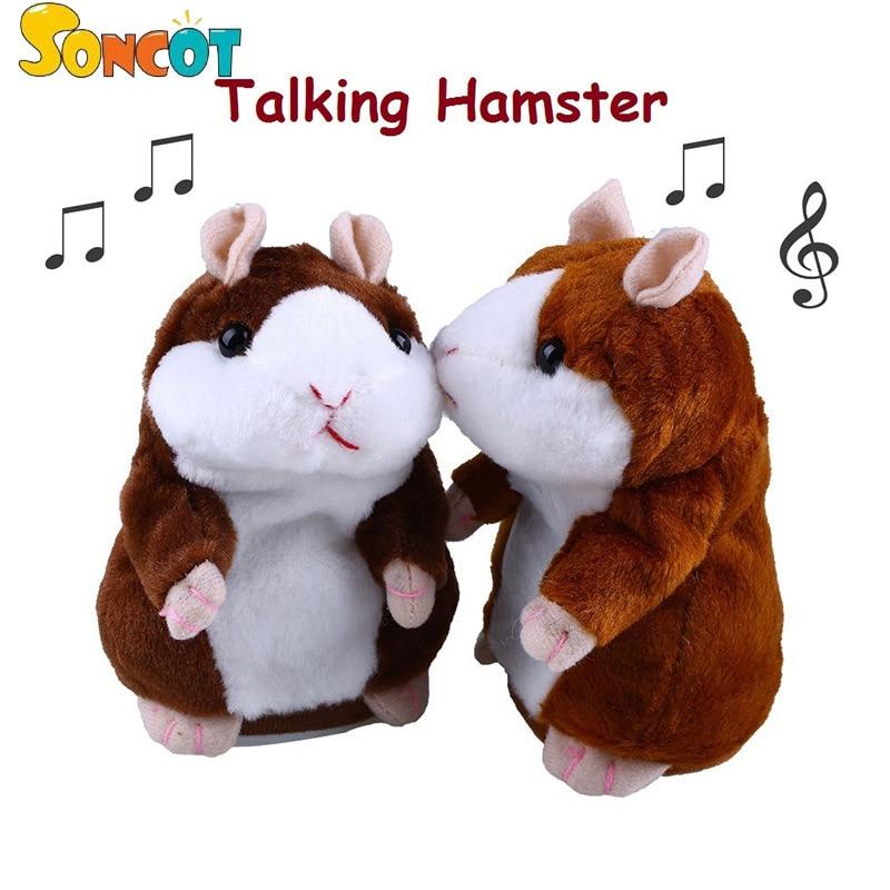 SONCOT regalo Di Natale morbido peluche giocattolo piccolo carino talking hamster peluche bambola di registrazione audio regalo di compleanno per bambini educationaltoys