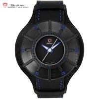 Silky Shark Sport Watch Blue 3 D Designer Gift Box Top Brand Luxury Men Leather Strap