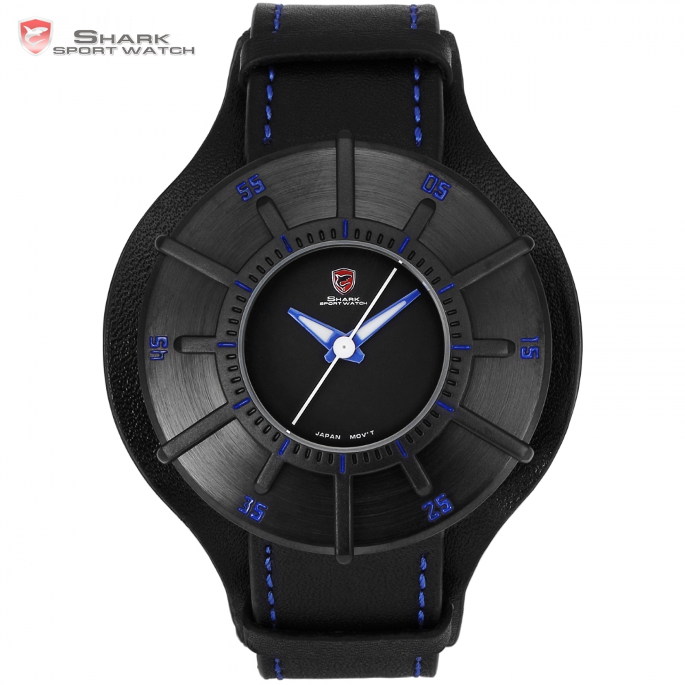 Silky Shark Sport Watch Blue 3 D Designer Gift Box Top Brand Luxury Men Leather Strap Quartz Popular Sports Wrist Watches/ SH485