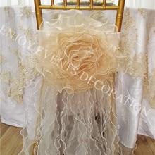 YHC#193 органза ручной работы цветок фантазийный стул платье-полиэстер Свадебные мероприятия Банкетный Чехол для стула из органзы задняя крышка