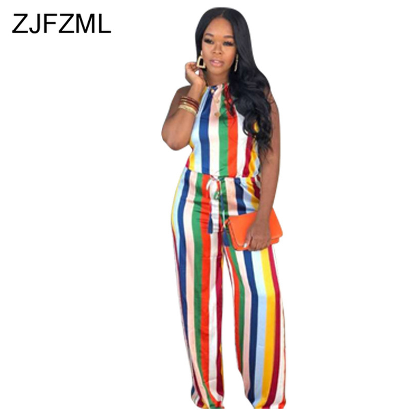 Rainbow Striped Sexy Beach   Jumpsuit   For Women Off Shoulder Backless Wide Leg Romper Summer Halter Sleeveless One Piece Bodysuit