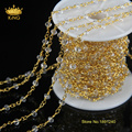 5meter/lot White Spinel Rosary Style Beaded Chain,Gold Plated Wire Wrapped Beaded Chain Rosary Chain Faceted Beads Jewelry JD069