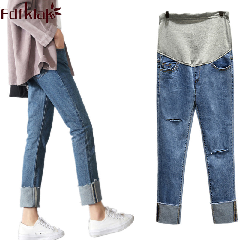 Fdfklak Elastic Waist Hole Stretch Denim Maternity Belly Jeans 2018 Autumn Spring Jeans For Pregnant Women Plus Size M-3XL F280 spring new women jeans high waist stretch ankle length slim pencil pants fashion female jeans 2017 plus size sexy girl jeans