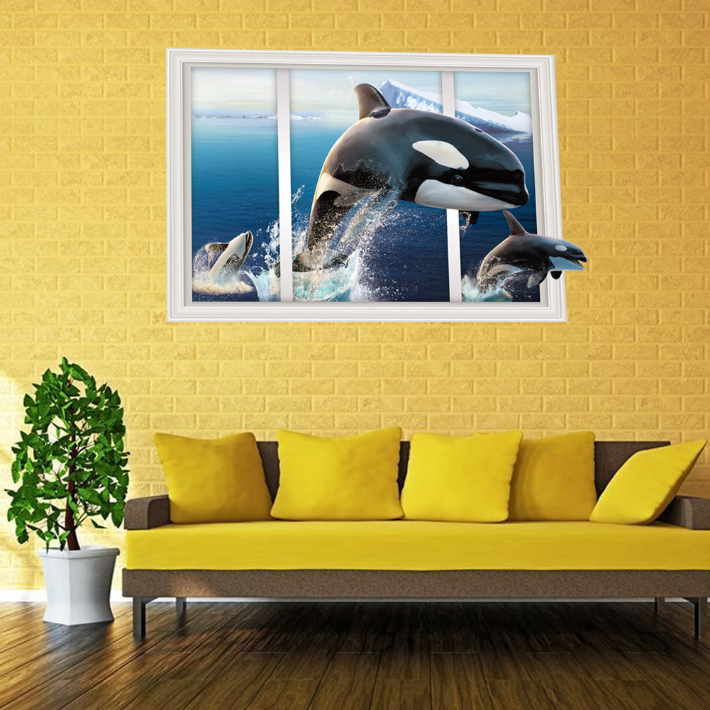 Pretty Whales And Waves Wall Decor Contemporary - The Wall Art ...