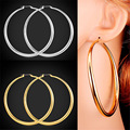 U7 Trendy Big Hoop Earrings For Women Gift Yellow Gold Plated Big Earrings Fashion Jewelry E519