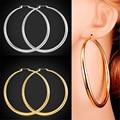 U7 Trendy Big Hoop Earrings For Women Gift Yellow Gold Plated Big Earrings Fashion Jewelry E519