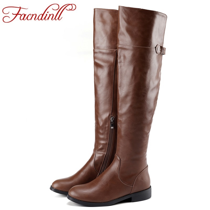 FACNDINLL shoes fashion thigh high boots quality pu leather square heels winter snow boots fashion riding over the knee boots
