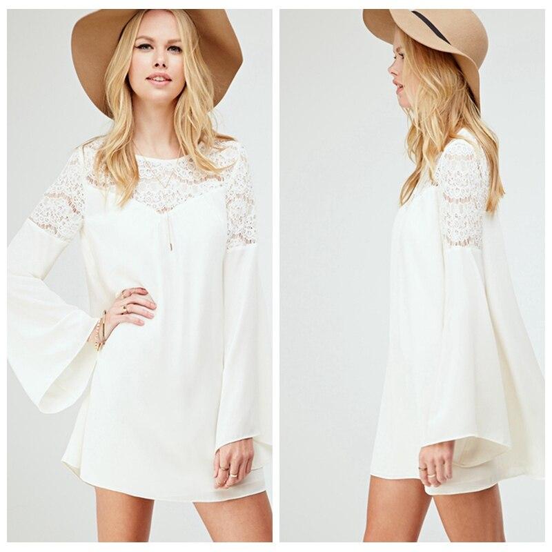 Aliexpress.com : Buy White Lace Chiffon Casual Loose Dress Flare ...