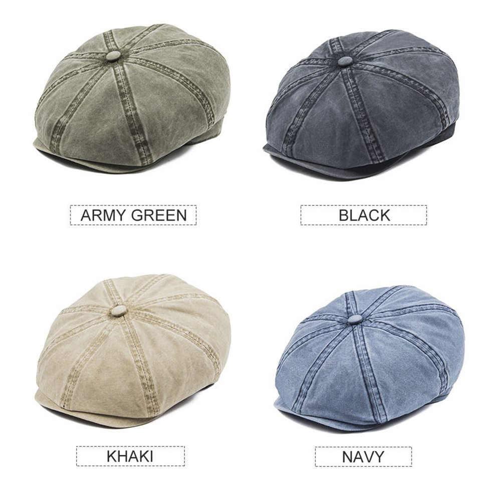 Boina 160 VOBOOM verde lavado de algodón para hombre gorra plana Retro conductor 8 Panel Boina sombrero mujer primavera otoño verano