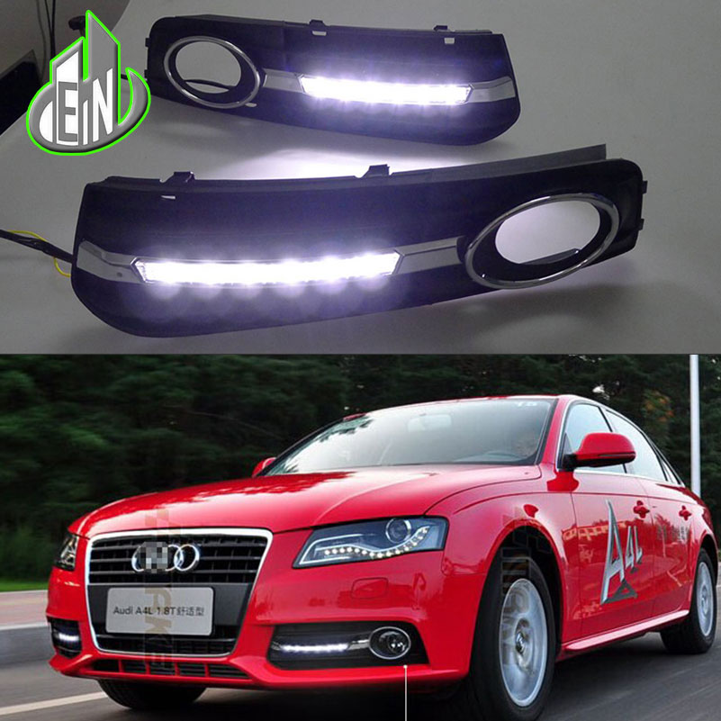 EN 2 pcs For Audi A4 A4L B8 2009-2012 LED DRL Daytime driving Running Lights Daylight Fog Lamp cover hole free shipping drl daytime running lights for audi a4 b8 2009 2010 2011 2012 auto led day driving lamp with fog lamp hole free shipping