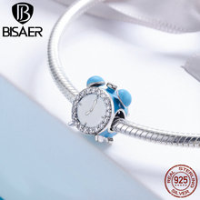 BISAER 925 Sterling Silver Charm Clock Time Happy Clock Bell Clear CZ Charm Beads fit Bracelet Bangles 925 Silver Jewelry ECC659