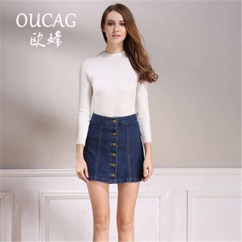 OUCAG summer Womens ladies A-line Pencil Jeans Skirt Front Button High Waist Denim shorts skirts Female ladies falda jupe