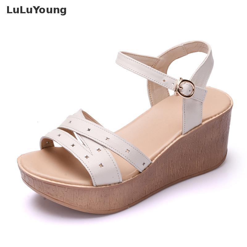 Sandals Female 2018 Summer New Thick Bottom High heeled Leather Comfort Casual Women Shoes Wedges Genuine