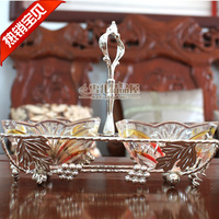 European glass compote creative fashion fruit dish / two cylinder dried fruit dried melon dish rectangular box box