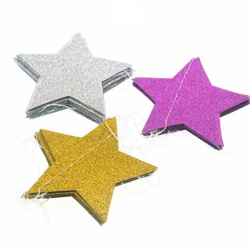 2m Glitter Paper Star Garland Hanging Banner Christmas Decoration Birthday Baby Shower Baby Room Decor Party Supplies