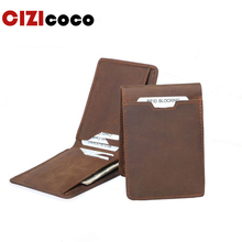 Crazy Horse Leather Men Wallets Vintage Genuine Wallet For Cowboy Top Thin To Put