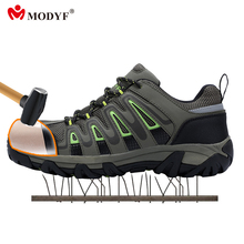 Modyf outdoor hiking shoes for Men steel toe cap safety shoes breathable climbing footwear anti-smashing puncture proof shoes