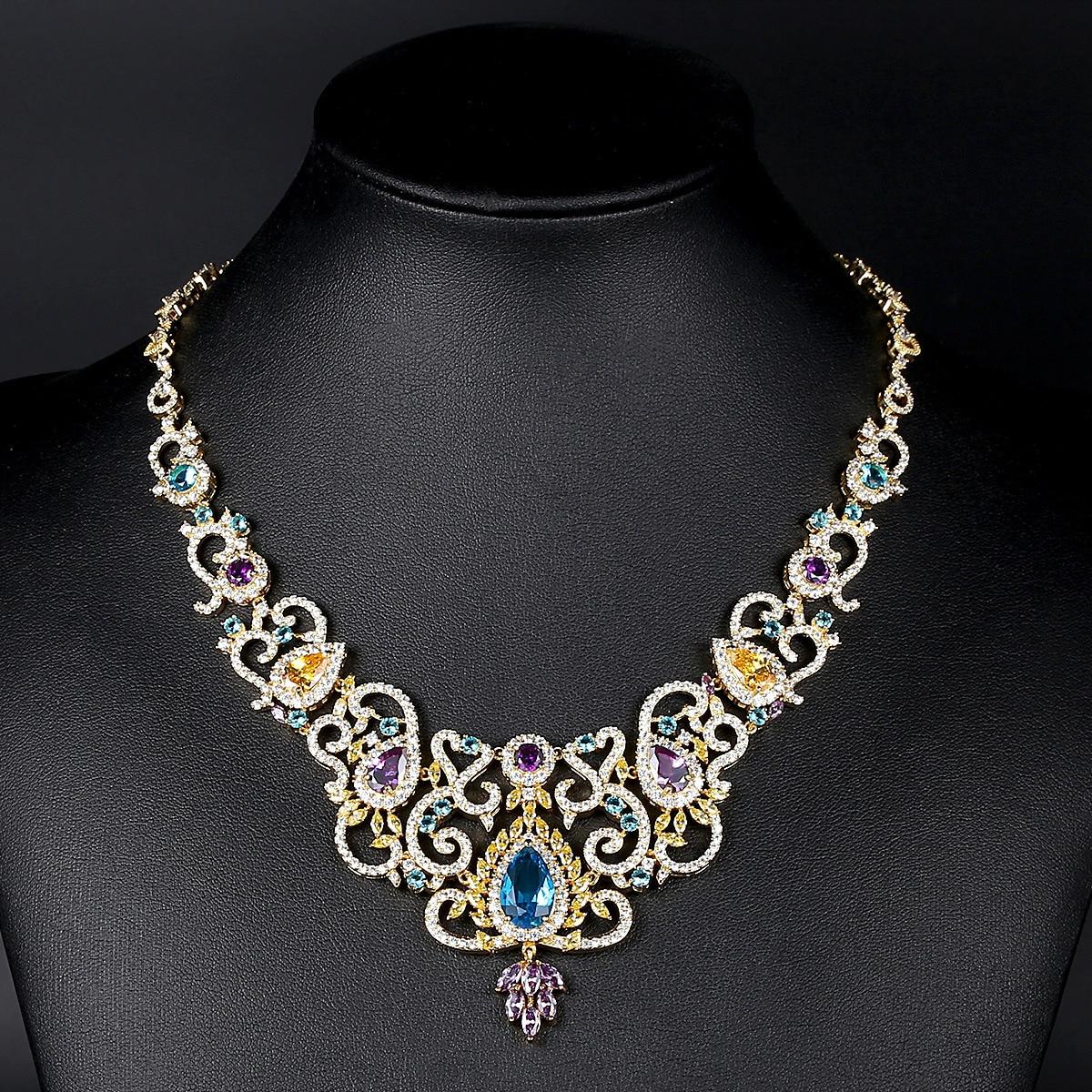 Collier en cristal de zircone de mariée de mariage de luxe de mode de dubaï pour des femmes cadeau collier de bijoux de cour royale de couleur d'or de fiançailles