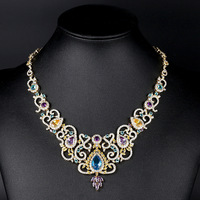 Fashion Luxury Dubai Wedding Bridal Zirconia Crystal Necklace for Women Gift Engagement Gold Color Royal Court Jewelry Necklace
