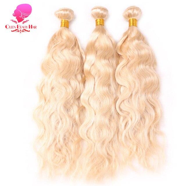 Queen Beauty Platinum 613 Blonde Color Human Hair Extensions 3pcs