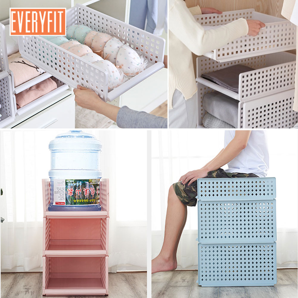 Box Room Wardrobe Us 23 62 13 Off White Pink Blue Detachable Drawer Type Clothes Storage Box Bedroom Cabinet Interlayer Wardrobe Storage Rack Layered Shelves In