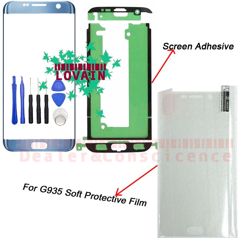 1 stücke Für Samsung Galaxy S7 Rand G935 SM-G935F G935FD G935K G935L Touch Screen Front Glas Panel + Aufkleber + werkzeuge + Schützen