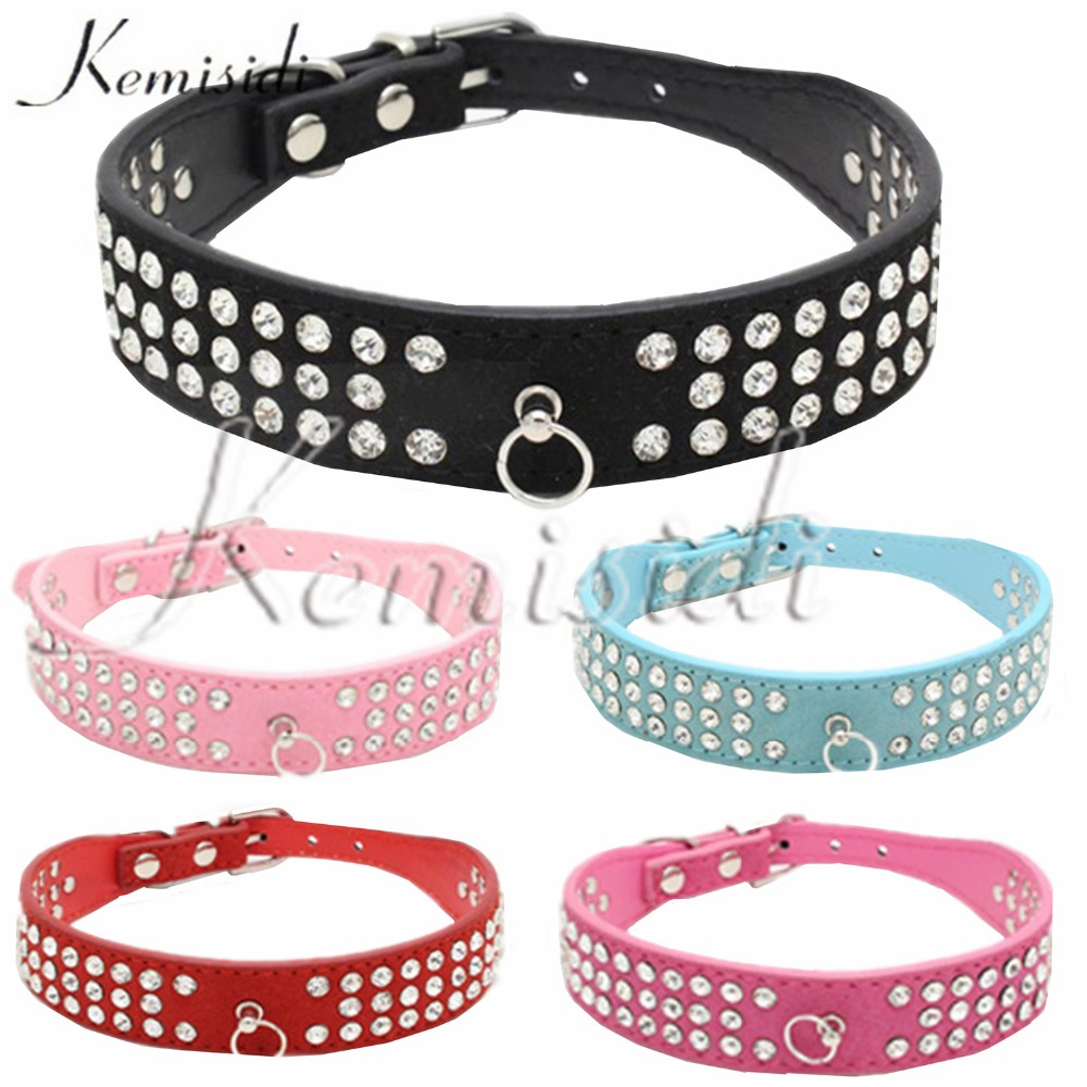KEMISIDI Dog Collar Single Row Leather Diamond Durable Quick Release Basic Collar For Pet Dog Free Shipping Size XS S M L