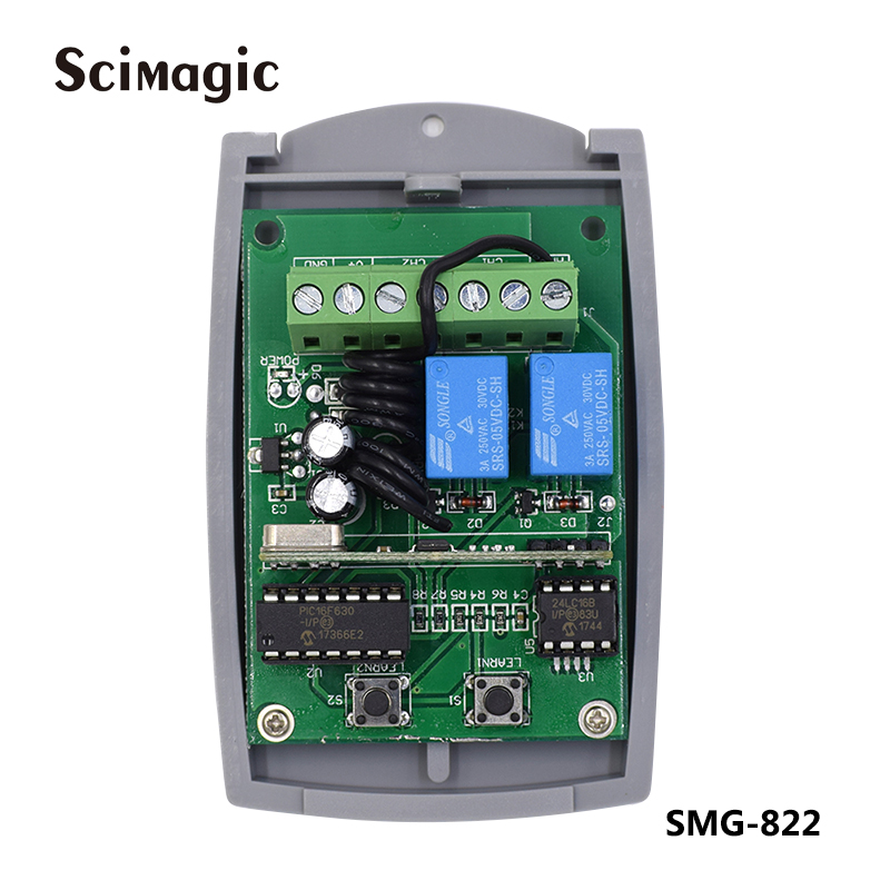 433MHz Receiver 2ch Gate Garage Door Remote Control Receiver Switch 433.92 For 99.9% Remote Control Brands On The Market