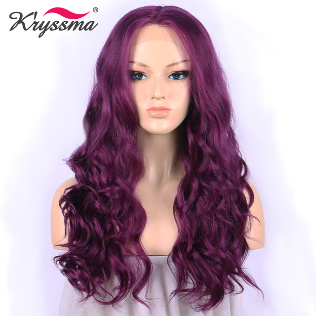 Purple Synthetic Lace Front Wig Medium Wavy Wigs for White Women Wigs for  Party 22 Inches Middle Part Heat Resistant Fiber ad8052b3e5