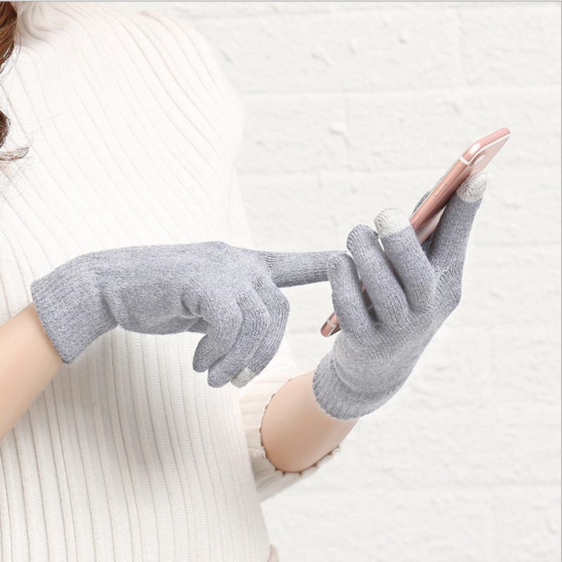 Winter Female Soft Touch Screen Full Finger Gloves Women Wrist  Cotton Texting Gloves Mittens For Smart Phone Gants Femme Hiver