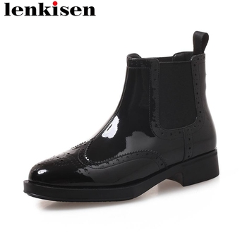 Lenkisen new fashion chelsea boots square toe slip on low heels natural leather office lady women classic luxury ankle boots L13