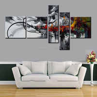 Abstract city painting Canvas Art Abstract Oil Painting Black gray Wall Decor hand-painted Pictures 5 pcs/set HOME DECOR ART