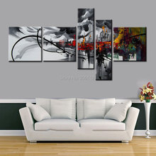 Abstract city painting Canvas Art Oil Painting Black gray Wall Decor hand-painted Pictures 5 pcs/set HOME DECOR ART