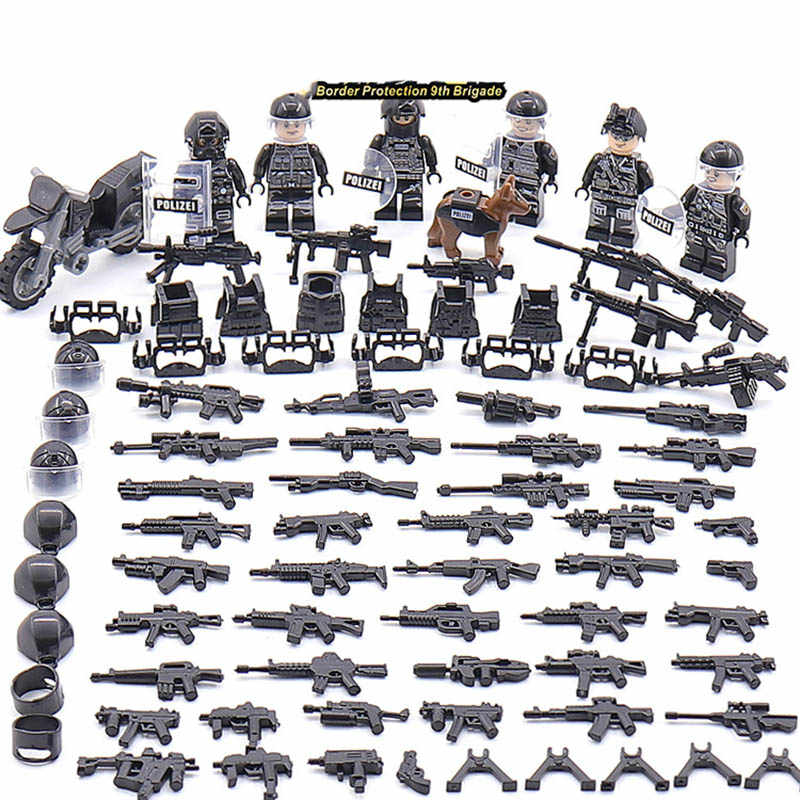 New LegoINGlys SWAT Military Army World War 2 Special Forces Team Black Soldier Building Blocks Brick Figure Toy Gift Boy