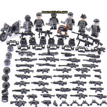 New LegoINGlys SWAT Military Army World War 2 Special Forces Team Black Soldier Building Blocks Brick Figure Toy Gift Boy(China)