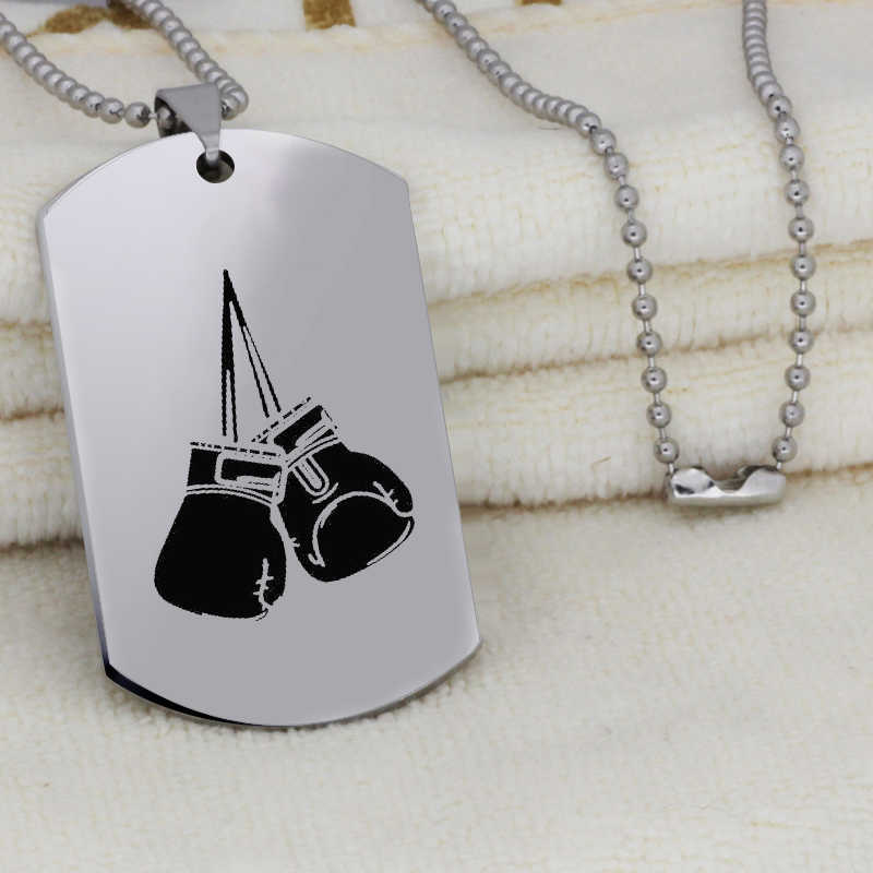 Boxing Gloves Pendant Neckalce for Men Fashion Engraved Stainless Steel Jewelry Long Necklace DROP SHIPPING YLQ6477