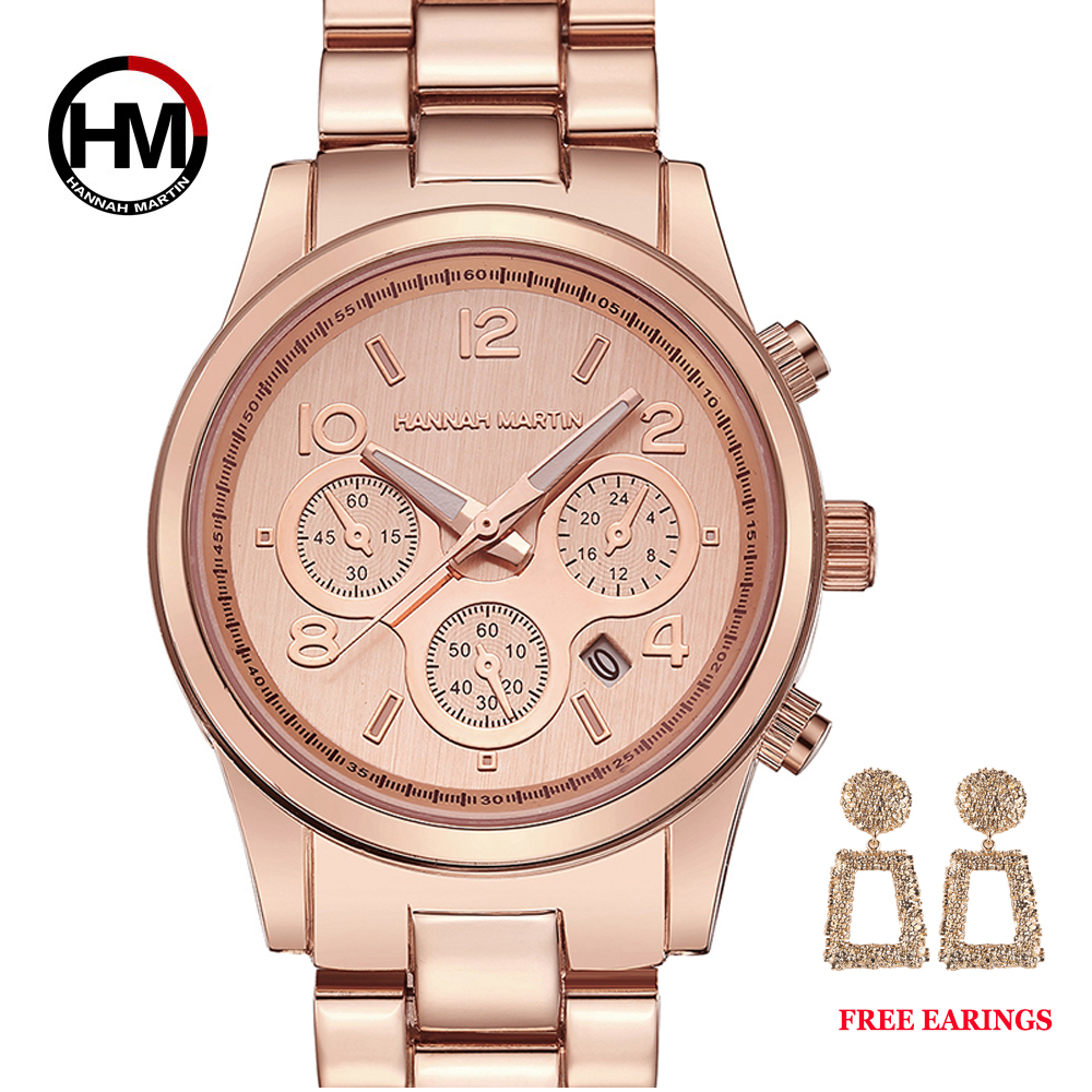 1 Set Classic Women Rose Gold Top Brand Luxury Lady Dress Business Fashion Casual Waterproof Watches Quartz Calendar Wristwatch
