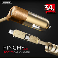 Remax 3 4a Usb Car Charger External Phone Adapter With 2 In1 Usb Cable For Iphone5