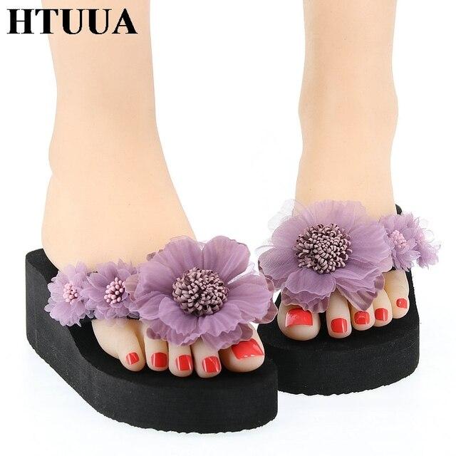 0dd1d9a649327 US $9.98 45% OFF|HTUUA Fashion Handmade Flower Slippers Women Slides Boho  Beach Flip Flops Summer Ladies Shoes Wedge Heel Platform Sandals SX2111-in  ...
