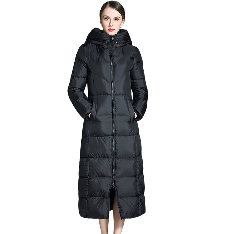 Black plus size women thicker jacket fashion hooded down coat 2017 new winter female long parka slim down outerwear coat QH0986 2015 new hot winter warm cold woman down jacket coat parkas outerwear luxury hooded splice long plus size 2xxl hit color slim