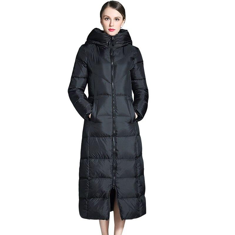 Black plus size women thicker jacket fashion hooded   down     coat   2017 new winter female long parka slim   down   outerwear   coat   QH0986