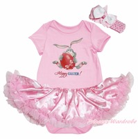 Heureux de lapin de pâques Egg peinture rose body lapin Dots filles bébé robe NB-18M