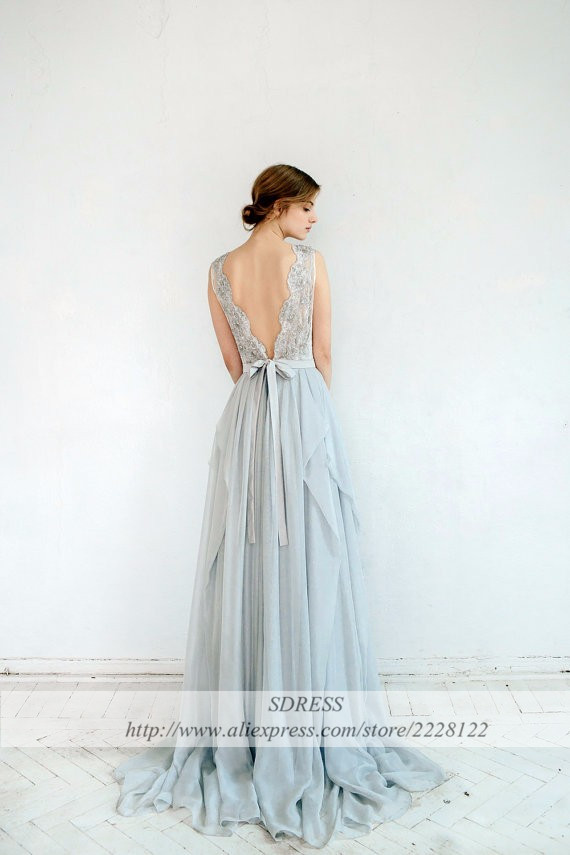 67a3f1fb62a Boho Light Blue Beach Wedding Dresses Bohemian See Through Lace Appliques  Asymmetrical Chiffon Bridal Gowns Vestido De Noiva-in Wedding Dresses from  ...