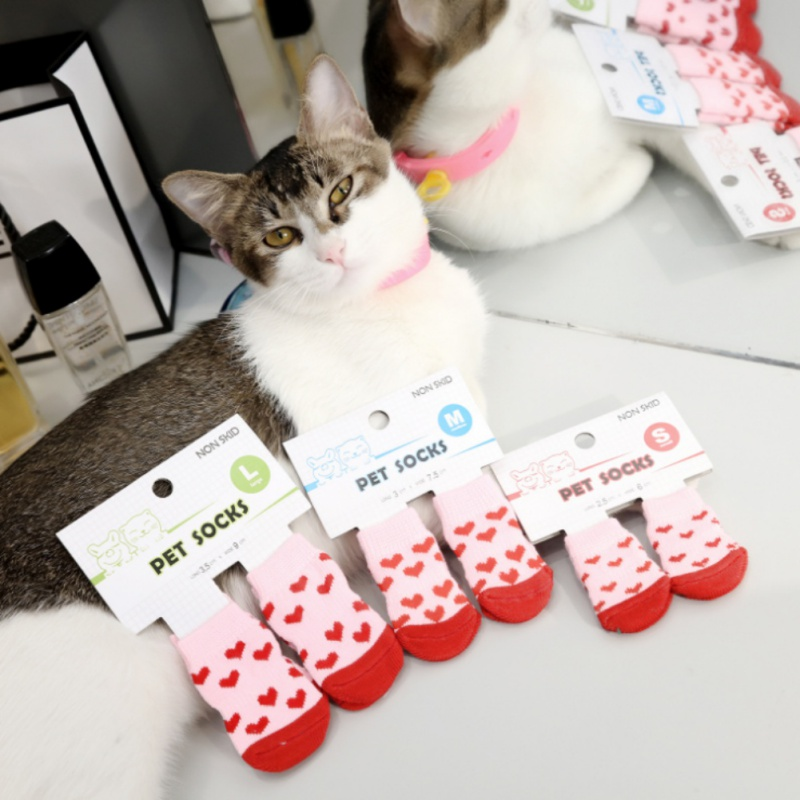 Anti Slip font b Pet b font Dog Socks Soft Cotton Warm Antiskid Paws Dirts Away